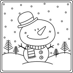 free printable snowman coloring page (3)