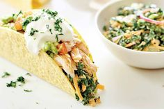 These fresh and fun Chicken Tacos with Kale-Slaw and Avocado Salsa from Superfood For Kids, is a great recipe to get the kids assembling their own dinner! – I Quit Sugar Real Food Recipes, Great Recipes, Healthy Recipes, Healthy Options, Healthy Meals, Keto Recipes, Chicken Recipes, Cooking Recipes, Slaw For Tacos