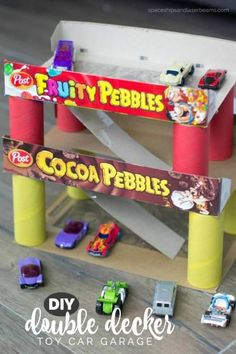 Create a parking garage out of Pebbles Cereal boxes Recycled Crafts Kids, Crafts For Boys, Toddler Crafts, Projects For Kids, Diy For Kids, Fun Crafts, Preschool Projects, Family Crafts, 3 Kids