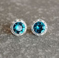 9e817975e Dark Peacock Teal Blue Rhinestone Earrings - Swarovski Crystal Indicolite  Stud Earrings - Sugar Sparklers Small