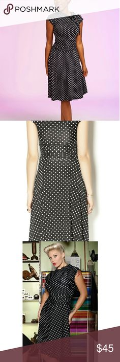 Polka-dot Pin up Dress Sz 3X, but runs small more like 2X...marked as such. NWOT Black with white polka dot.  SOLD OUT SZ. You will look like a total bombshell in this retro inspired dress. The stretchy fabric drapes beautifully for a super flattering fit. Where this with vintage accessories for a retro Glam look! Tie at neck. folter Dresses