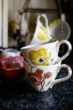 Pier 1 Hand-Painted Poppies Mugs