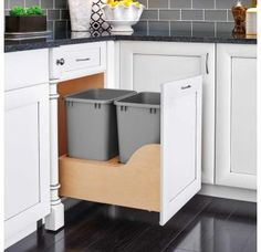 Kitchen Remodeling Rev-A-Shelf 21 Inch Bottom Mount Double Bin Trash Can with Wood Trash Cans 2 Bin Pull Out - Kitchen Storage, Kitchen Decor, Rustic Kitchen, Kitchen Garbage Can Storage, Clever Kitchen Ideas, Small Kitchen Organization, Eclectic Kitchen, Awesome Kitchen, Kitchen Modern