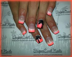 Coral  white nails with hand painted palm tree -- SugarCoat Nails