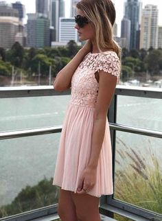 Pink Day Dress - Pink Embroidered Lace Top Dress
