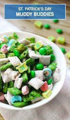Celebrate St. Patrick's Day with this festive and kid-friendly snack. This St. Patrick's Day Snack Mix recipe is super sweet and super simple. Combine cereal, chocolate, peanut butter, and sprinkles to make this celebratory snack. But be careful—this reci
