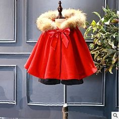 >> Click to Buy << autumn baby clothes girls Windbreaker red fake fur children cloak sweet cute bows girls winter party clothes outfits for 2-7Y #Affiliate