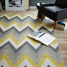 Chevron Cotton Dhurrie Rug - Sun Yellow #westelm Master bedroom