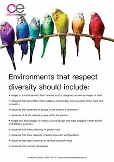 Pin 12 - Strategies to respect diversity in the early childhood setting Childcare Environments, Learning Environments, Equality And Diversity, Cultural Diversity, Early Childhood Centre, Early Childhood Education, Information About Environment, Preschool Programs, Preschool Forms