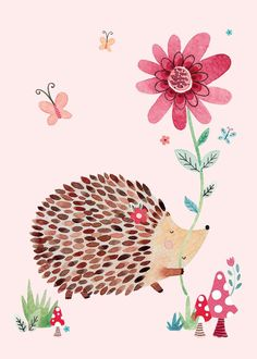 Designer and illustrator of books, magazines and greeting cards using watercolour and black fine-line pen detail Hedgehog Illustration, French Illustration, Cute Illustration, Image Deco, Art Watercolor, Birthday Greeting Cards, Blank Cards, Cute Drawings, Cute Art