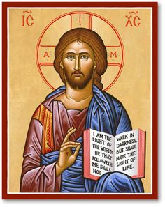 Our most popular icon! Holding a Gospel declaring: I am the Light of the world Christ blesses the beholder. His halo includes the letters I AM, symbolizing His divinity and referring to His words, Before Abraham was, I AM. The Greek letters IC and XC in the upper corners of the icon are abbreviations of the Greek words for Jesus and Christ.
