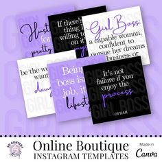 40 Purple Instagram Templates Girl Boss Quotes Quote Post | Etsy Motivational Quotes For Girls, Girl Boss Quotes, Instagram Templates, Oprah, Cards Against Humanity, Purple, Etsy, Viola