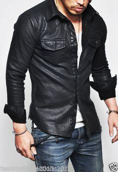 Nova Masculina Designer genuíno pele de cordeiro macio jaqueta de couro Biker/, todos os tamanhos
