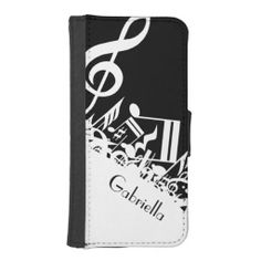 Personalized Jumbled Musical Notes Black | White Phone Wallet