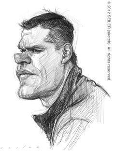 Matt Damon Pencil Drawing