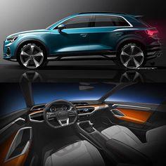 2019 Audi Official Sketches / Exterior design sketc - Cars and motor Audi Q3, Car Design Sketch, Car Sketch, Audi Interior, Allroad Audi, Audi Sport, Concept Cars, Exterior Design, Dream Cars