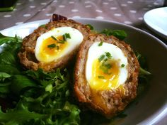 Mustard and chive scotch eggs - soft boiled, naturally :) and in panko breadcrumbs for the extra crunch. Also made some curried ones too, all excellent and well worth the fuss!