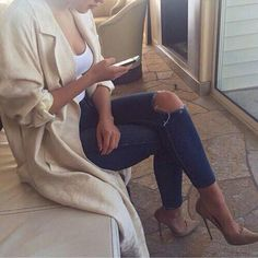 Jeans + white top + cardigan = day look. Top it up with nude heels = dinner date/evening out outfit