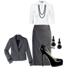 smart professional business suit. gray, black, white, accessorize with a bright bag ;)