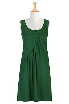 Draped seam knit dress  STYLE # CL0026658  $49.95    Color: Bottle green