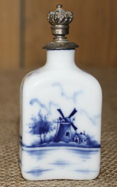 ♥ ~ ♥ Blue and White ♥ ~ ♥ Antique Blue & White Porcelain Delft Perfume Bottle with Windmill and Metal Crown, Screw on Cap Blue And White China, Blue China, Red White Blue, Cobalt Blue, Delft, Antique Perfume Bottles, Vintage Bottles, Metal Crown, Blue Pottery