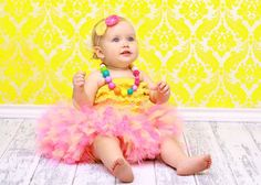 Elaina 1 year pics?- Pink Lemonade with Matching Headband. $38.50, via Etsy