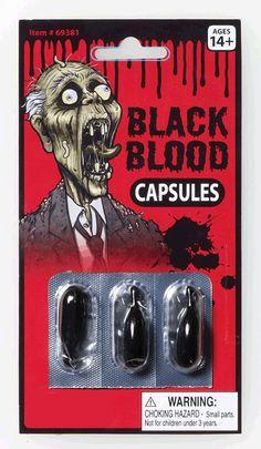 Black Blood Capsules Zombie Halloween Costume Accessory $1.99