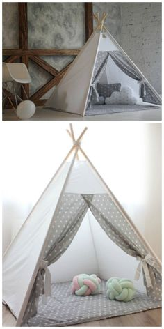 Kids teepee - Play tent - Teepee - Kids gift - Baby gift - Childrens gift - Boys teepee - Playhouse. Teepee tent is great for indoor playing. Nevertheless, it can be used outdoors in a dry weather. Easy to expand like an umbrella. Due to its sewing pattern teepee is stable and safe for kid's playing in. aff.