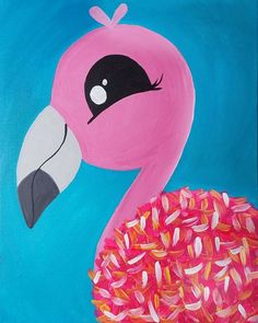 Painting Parties & Classes in Largo - Paint & Sip Events #Flamingo #kidspainting #kidscrafts #artclass #pink #LargoFlorida Summer Painting, Easy Canvas Painting, Painting Of Girl, Diy Canvas Art, Painting For Kids, Drawing For Kids, Art For Kids, Painting Classes, Little Girl Crafts