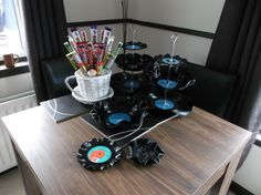 Sweetie tree and cake stand and bowls made from old records