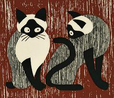 """Kiyoshi Saito    Two Cats    """"We are Siamese if you please!""""    1955"""