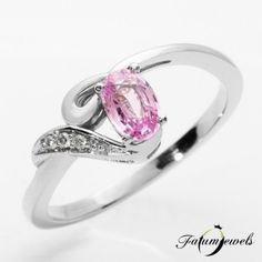ER328 14k Gyémánt Rózsaszín Zafír Gyűrű