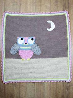 """Crochet - Hootie Tootie Owl Blanket - #REC1376 - easy - meas. 35"""" x 40"""""""