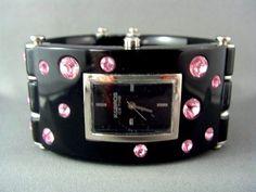 FLASHY! designer signed K&BROS Pink Swarovski Crystal Studded Black Resin Watch #KBros