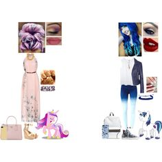 My Little Pony Inspired Outfits #7: Princess Cadance and Shining Armor by nikkie-fen on Polyvore featuring mode, Balenciaga, Gianvito Rossi, Converse, Prada, Ben-Amun, Cara, Domo Beads, Zero Gravity and Carven
