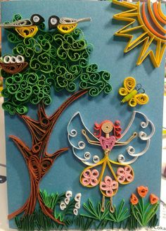 Fairy, birds, hometree, sunshinr, summer by quilling