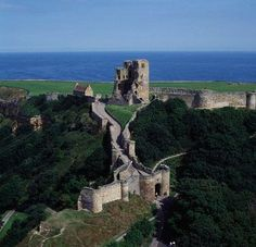 The ruins of  Scarborough Castle, Yorkshire, England built in the 12th century