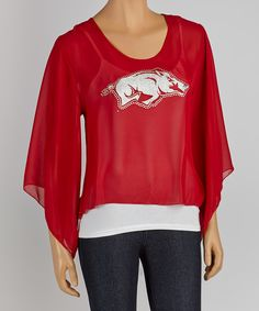This Arkansas Razorbacks Cape-Sleeve Top - Women by Gameday Couture is perfect! #zulilyfinds
