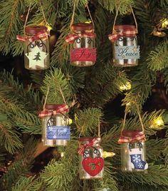 Set-Of-6-Mini-Mason-Jar-Christmas-Tree-Hanging-Ornaments-Country-Art-Home-Decor