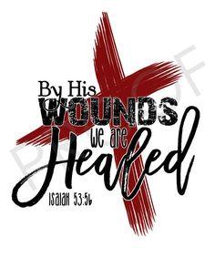 Scripture Art  Isaiah 53:5b  Chalkboard Style Easter