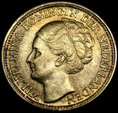 1941 Netherlands WW II SILVER 25 Cents HIGH GRADE Queen Wilhelmina Coin
