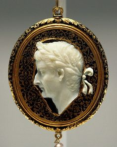 Cameo Portraying Emperor Tiberius Cameo: Roman, c. CE 14-37. Frame: Probably French, early 16th century. Cameo: sardonyx; Frame: enamel, gold, and pearl 8 x 5 x 1 cm (3 1/8 x 2 x 3/8 in.)