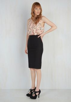 I'll Have the Usual Pencil Skirt in Black - Black, Solid, Work, Pencil, Minimal, Basic, Press Placement, Vintage Inspired, Best Seller, 4th of July Sale, Top Rated, Variation, High Rise, Mid-length, High Waist, Party, Cocktail, Girls Night Out, Rockabilly, Pinup, 50s, Spring, Summer, Fall, Winter, Woven, Good