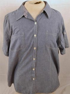 Faded Glory Ladies Size XXL 20 Denim Cotton Short Sleeve Button Up Blouse