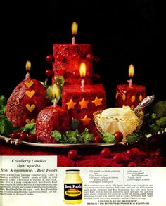 Wait - what? How to make edible cranberry candles as your holiday salad (1960s) - #cranberries #cranberry #candles #salads #cranberrysauce #cranberrysalad #moldedsalad #gelatinsalad #jellosalad #thanksgiving #thanksgivingsalad #strangefood #retrofood #ediblecandles #strangeeats #cranberryrecipe #christmas #salads #vintagerecipes #retrorecipes #cranberryrecipes #clickamericana
