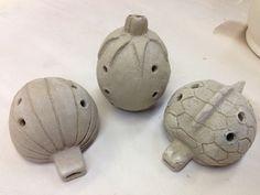 Ceramic Ocarina- Turtle,Tomato, and Onion Ceramic Birds, Ceramic Clay, Ceramic Pottery, Ceramics Projects, Clay Projects, Sound Sculpture, Sculptures, Ocarina Music, Pottery Courses