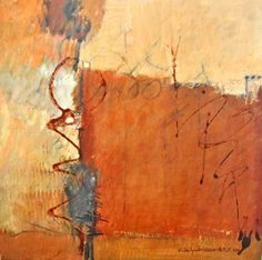 "Elaine Daily-Birnbaum - "" Graffiti II"", 20 x 20, Mixed watermedia on wood panel. (Blended with marks)"