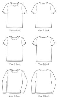 Digital sewing pattern for sale: Child sized, easy & quick-to-sew, School Bus T-shirt by Liesl of Oliver + S ($8.95). Offered with two short-sleeved styles--A: standard, unisex tee, and B: with capped sleeves and a narrower neckband--and one long-sleeved version. Available in two size ranges, 6M-4 and 5-12.