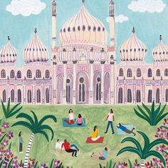 I did this drawing of Brighton Pavilion for the National Express magazine 🌴 Travel Illustration, Photo Illustration, Brighton Belle, Business Cartoons, Royal Pavilion, Australia Map, Cat Character, Retro Advertising, Traditional Paintings