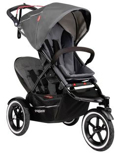 Phil&Teds Sport Inline Twin Baby Double Stroller with Second Seat Graphite